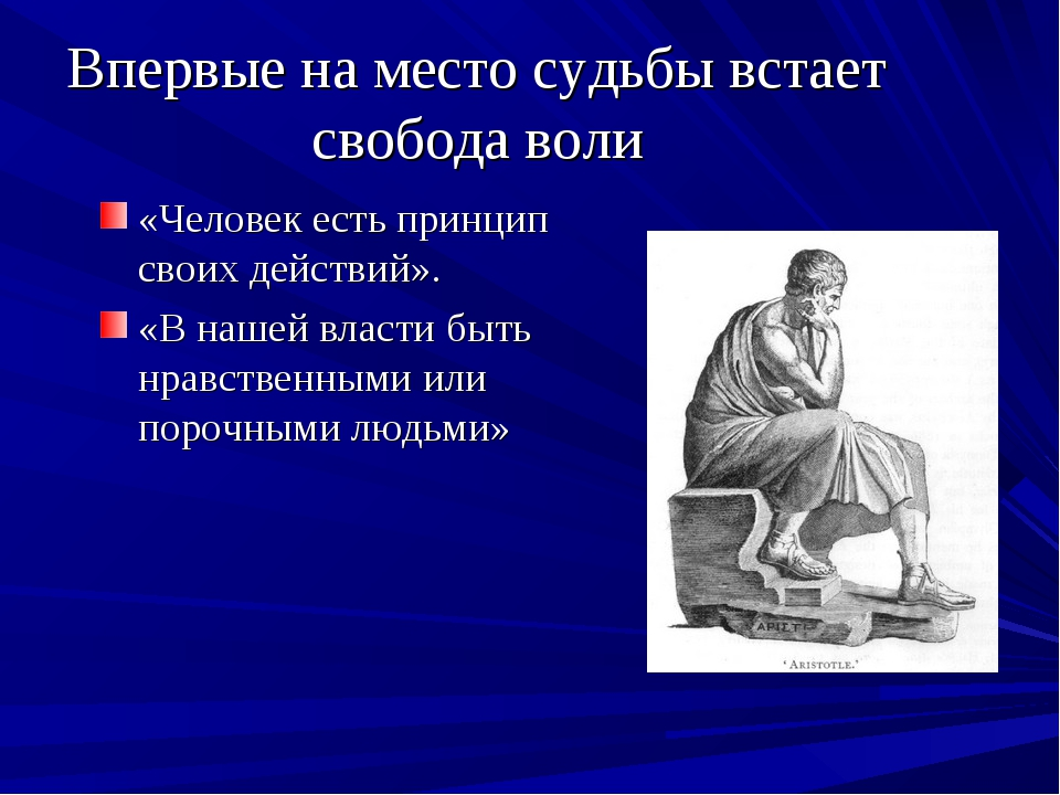 Впервые на место судьбы встает свобода воли «Человек есть принцип своих дейст...