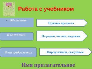 Работа с учебником Обозначает Признак предмета Изменяется По родам, числам, п