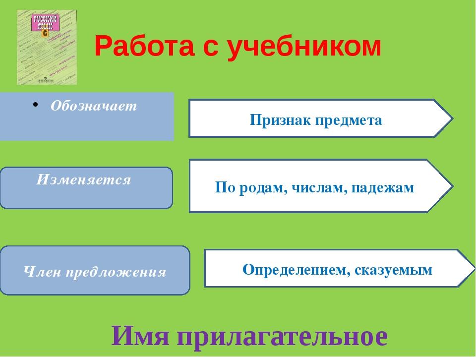 Работа с учебником Обозначает Признак предмета Изменяется По родам, числам, п...