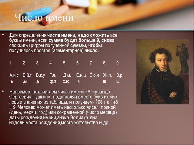 Число имени Для определения числа имени, надо сложить все буквы имени, если с...
