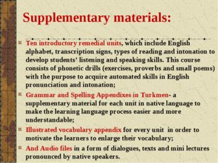 Supplementary materials: Ten introductory remedial units, which include Engli