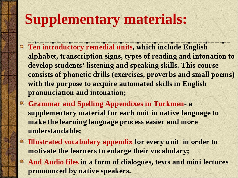 Supplementary materials: Ten introductory remedial units, which include Engli...