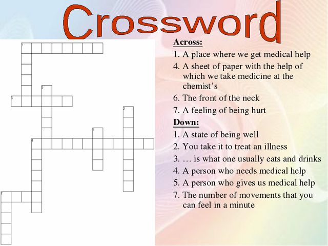 Across: 1. A place where we get medical help 4. A sheet of paper with the hel...