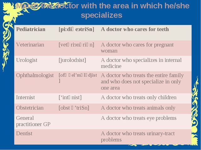 II stage Basic words Match the doctor with the area in which he/she speciali...