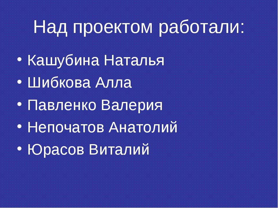 Над проектом работали: Кашубина Наталья Шибкова Алла Павленко Валерия Непочат...