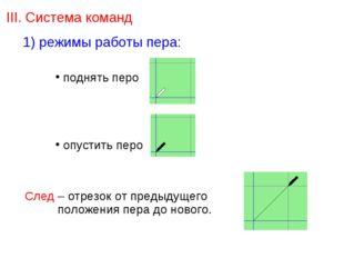 III. Система команд 1) режимы работы пера: поднять перо опустить перо След –
