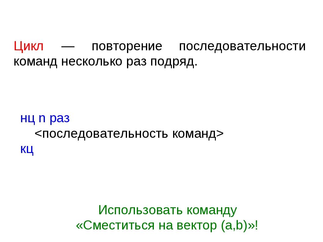 Цикл — повторение последовательности команд несколько раз подряд. нц n раз...