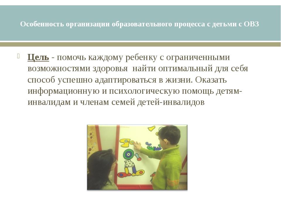 Особенность организации образовательного процесса с детьми с ОВЗ Цель - помоч...