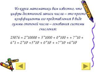 Из курса математики вам известно, что цифры десятичной записи числа – это пр
