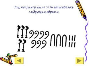 Так, например число 5736 записывалось следующим образом
