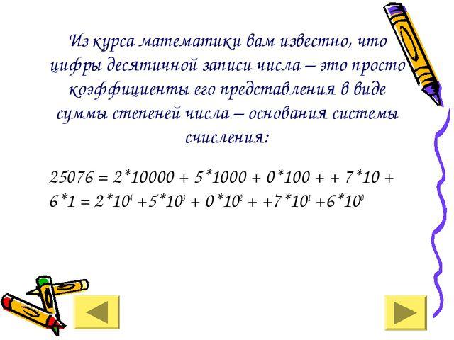 Из курса математики вам известно, что цифры десятичной записи числа – это пр...