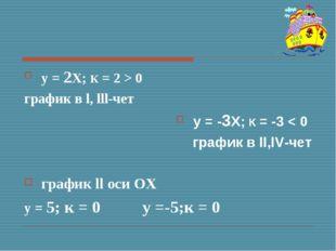 у = 2Х; К = 2 > 0 график в l, lll-чет у = -3Х; К = -3 < 0 график в ll,lV-чет