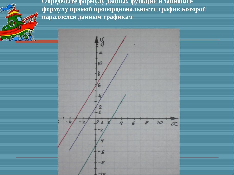 Определите формулу данных функций и запишите формулу прямой пропорциональност...