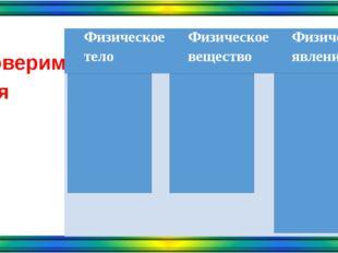 Проверим себя Физическое тело Физическое вещество Физическое явление Рельсы Л