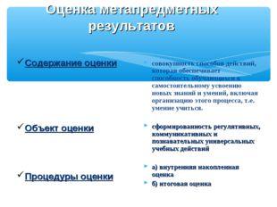 Оценка метапредметных результатов Содержание оценки Объект оценки Процедуры о