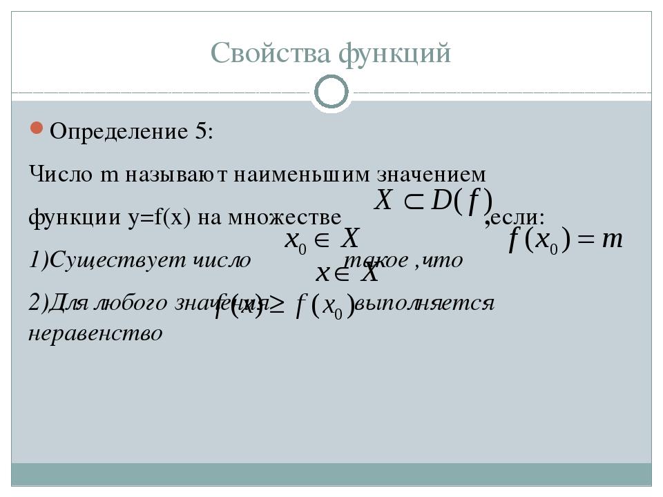 Свойства функций Определение 5: Число m называют наименьшим значением функции...