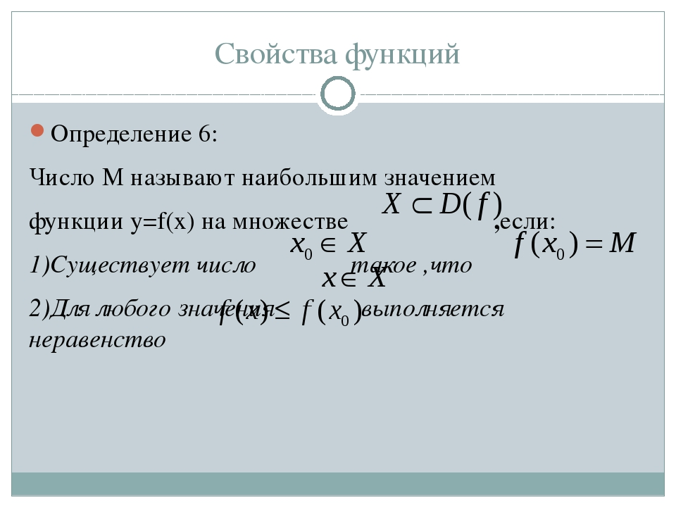 Свойства функций Определение 6: Число M называют наибольшим значением функции...
