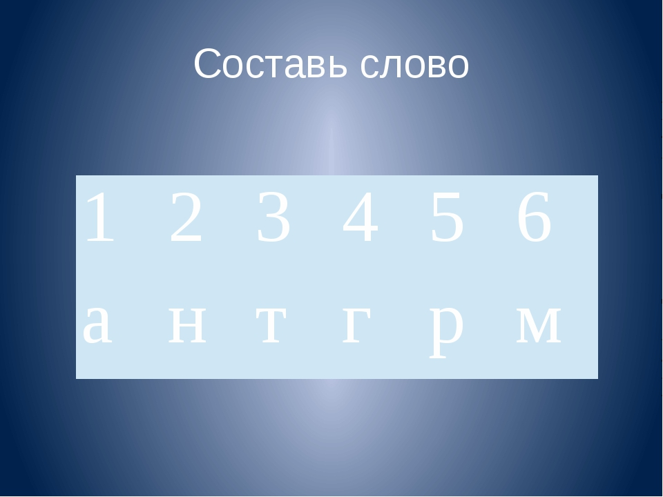 Составь слово 1 2 3 4 5 6 а н т г р м