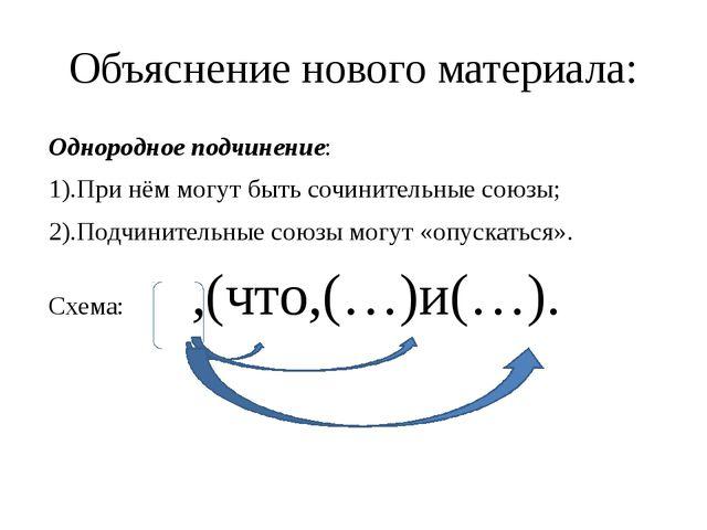 Объяснение нового материала: Однородное подчинение: 1).При нём могут быть соч...