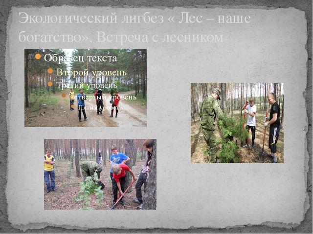 Экологический лигбез « Лес – наше богатство». Встреча с лесником