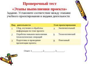 Проверочный тест «Этапы выполнения проекта» Задание. Установите соответствие