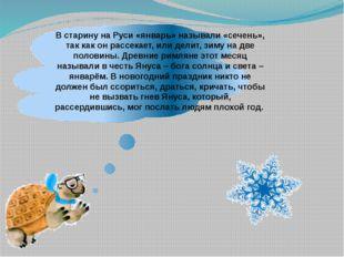 В старину на Руси «январь» называли «сечень», так как он рассекает, или дели