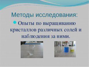Методы исследования: Опыты по выращиванию кристаллов различных солей и наблюд