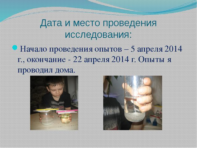 Дата и место проведения исследования: Начало проведения опытов – 5 апреля 201...