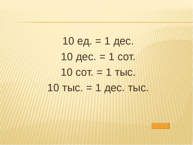 10 ед. = 1 дес. 10 дес. = 1 сот. 10 сот. = 1 тыс. 10 тыс. = 1 дес. тыс.