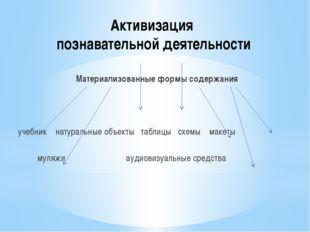 Активизация познавательной деятельности Материализованные формы содержания уч