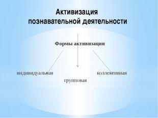 Активизация познавательной деятельности Формы активизации индивидуальная колл