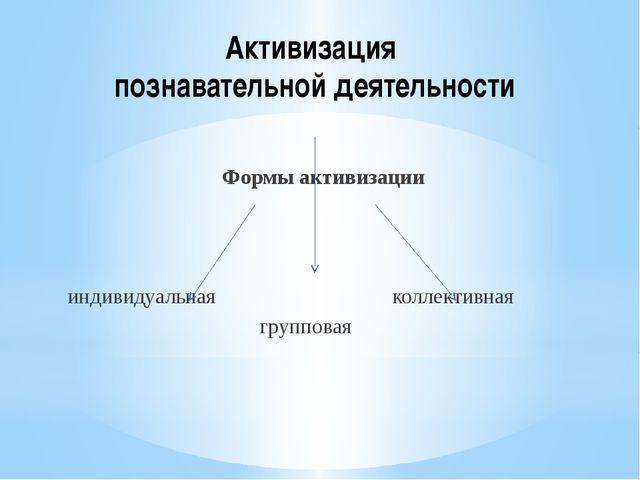Активизация познавательной деятельности Формы активизации индивидуальная колл...