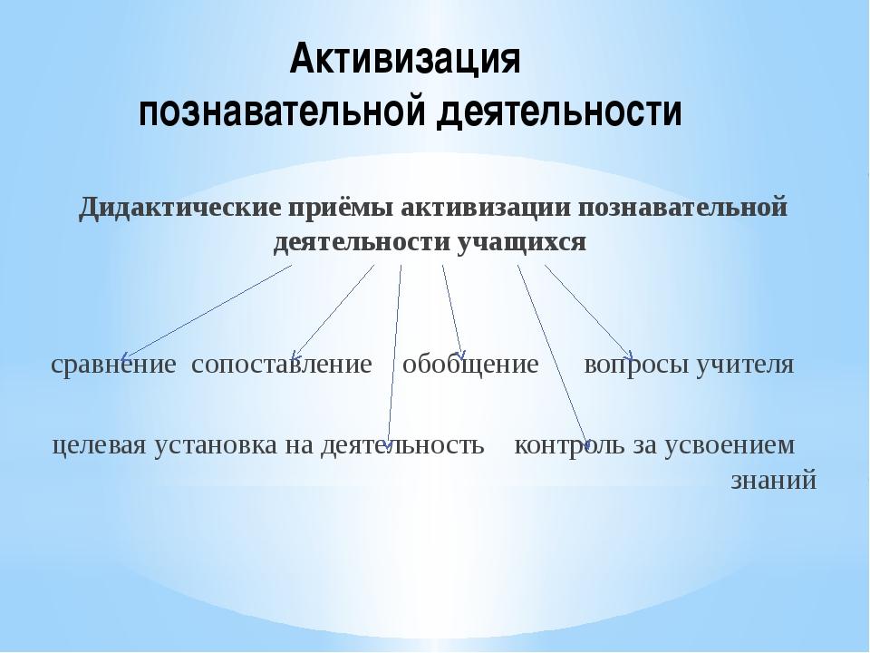 Активизация познавательной деятельности Дидактические приёмы активизации позн...