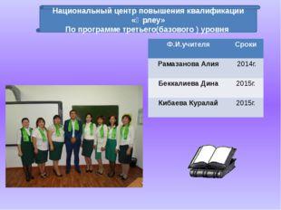 Национальный центр повышения квалификации «Өрлеу» По программе третьего(базов