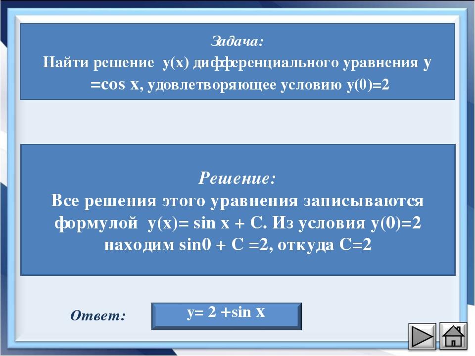 Задача: Найти решение y(x) дифференциального уравнения y′=cos x, удовлетворяю...