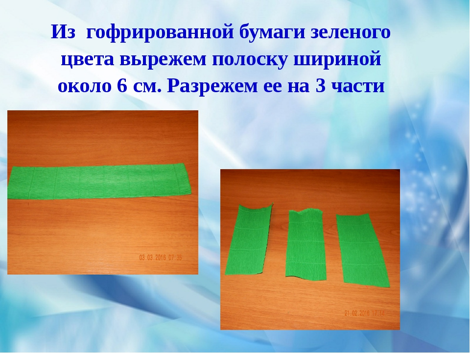 Из гофрированной бумаги зеленого цвета вырежем полоску шириной около 6 см. Р...