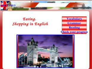 Level 7 Unit 3 Eating. Shopping in English Vocabulary Grammar Reading Check y