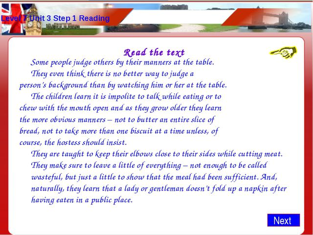 Level 7 Unit 3 Step 1 Reading Read the text 	Some people judge others by thei...