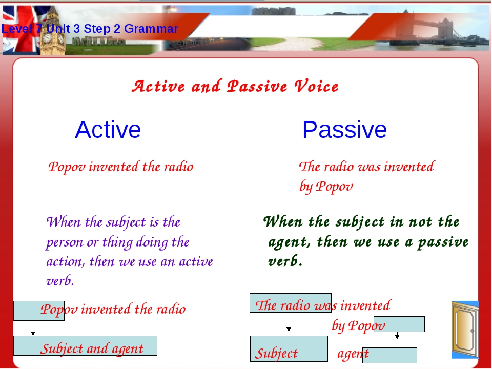 Level 7 Unit 3 Step 2 Grammar Active and Passive Voice Active Passive Popov i...