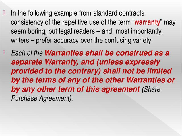 In the following example from standard contracts consistency of the repetitiv...