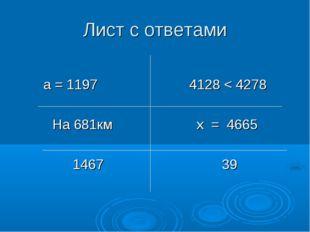 Лист с ответами а = 1197 4128 < 4278 На 681км х = 4665 1467 39