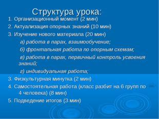 Структура урока: 1. Организационный момент (2 мин) 2. Актуализация опорных зн