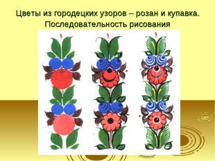 Цветы из городецких узоров – розан и купавка. Последовательность рисования