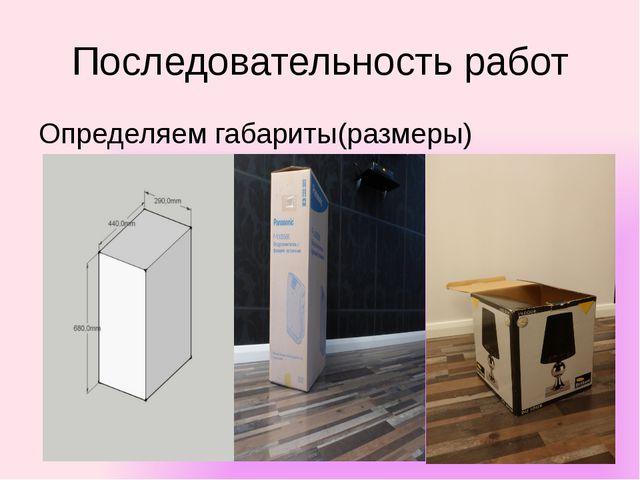 Последовательность работ Определяем габариты(размеры)
