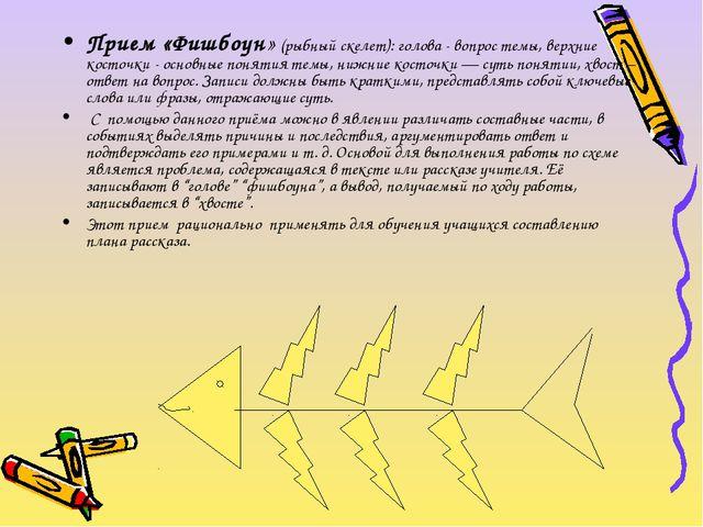 Прием «Фишбоун»(рыбный скелет):голова - вопрос темы, верхние косточки- осн...