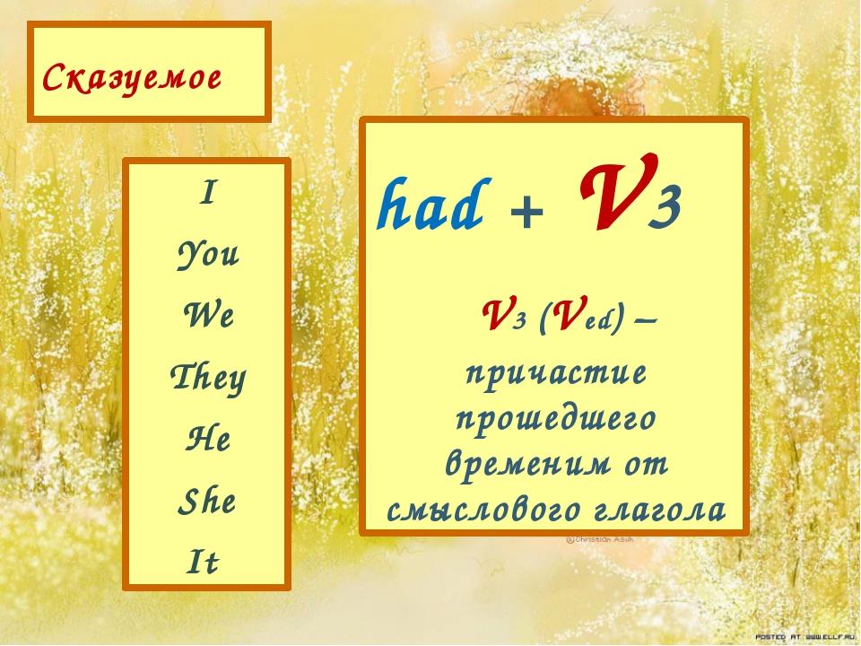 Сказуемое I You We They He She It had + V3 V3 (Ved) – причастие прошедшего вр...