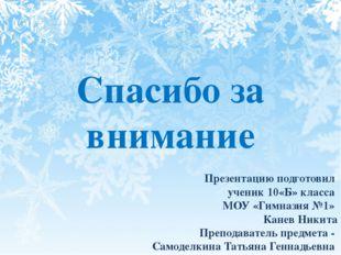 Презентацию подготовил ученик 10«Б» класса МОУ «Гимназия №1» Канев Никита Пре