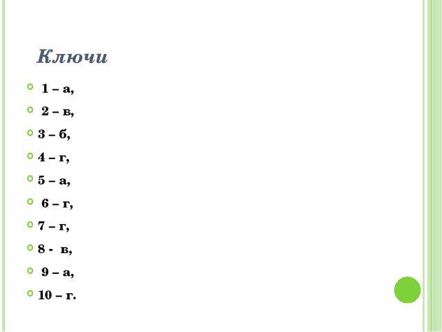 Ключи 1 – а, 2 – в, 3 – б, 4 – г, 5 – а, 6 – г, 7 – г, 8 - в, 9 – а, 10 – г.