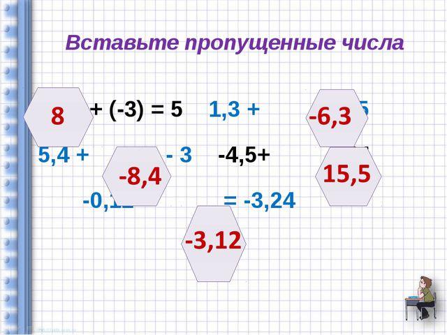 Вставьте пропущенные числа + (-3) = 5 1,3 + = - 5 5,4 + = - 3 -4,5+ =11 -0,12...