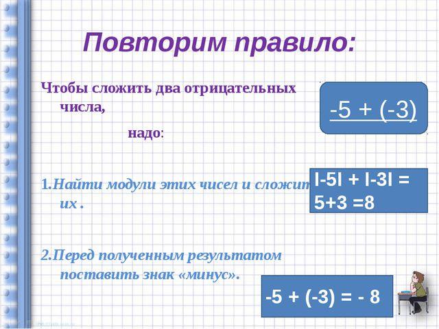 Повторим правило: Чтобы сложить два отрицательных числа, надо: 1.Найти модули...